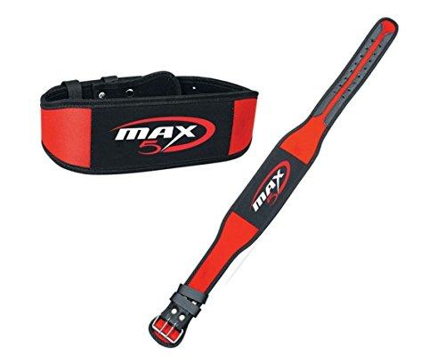 Neopren Gewichthebergürtel Rückseite maxfive 331Gym Training Back Unterstützung Fitness Übung-Gürtel Rot, Large (Jeans Plus Ralph Lauren Größe)