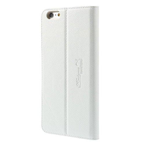 iPhone 66S echtem Premium Leder Brieftasche Hülle Case Ständer Flip Cover + 2Displayschutzfolie, Leder, weiß, iPhone SE/5S/5 weiß