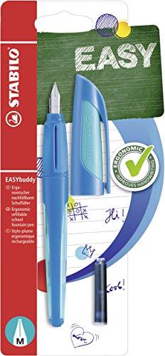 Schulfüller mit Standard-Feder M - STABILO EASYbuddy in dunkelblau/hellblau - Einzelstift - Schreibfarbe blau (löschbar) - inklusive Patrone