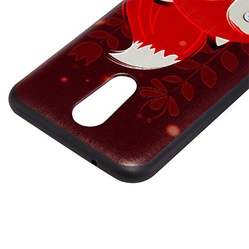 Custodia per LG K10 2017, ISAKEN Cover per LG K10 2017 [TPU Shock-Absorption] - Colorate Sollievo Pattern Design Soft TPU sottile Custodia Case Nero Back Ultra Sottile TPU Morbido Protettiva Cassa Ner Volpe rossa