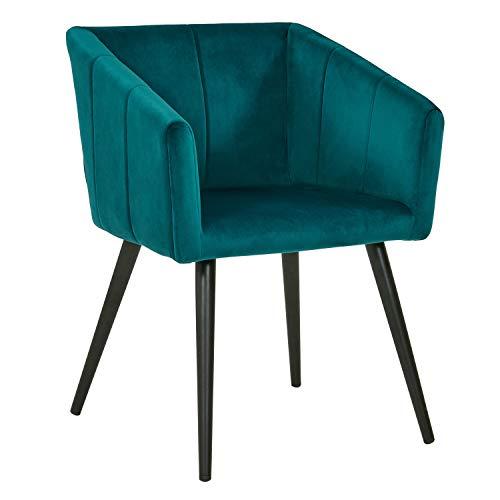 Duhome Esszimmerstuhl aus Stoff (Samt) Petrol Blau Farbauswahl Retro Design Stuhl mit Rückenlehne Sessel Metallbeine 8065