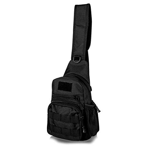 Sling Bag EDC satchel Tactical Bag Chest Shoulder Unbalance Gym Fanny Backpack Outdoor Gear Sack Strap Direction Adjustable for Travel Hiking Camping Hunting nylon black, by LC Prime (Satchel Bag Travel)