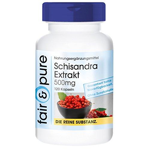 Extracto de Schisandra 500 mg - 9% de Schisandrin - 120 cápsulas – Sustancia pura y sin aditivos