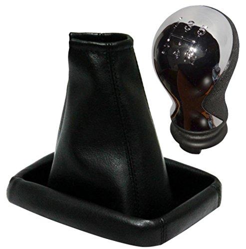 Aerzetix - Pommeau et soufflet de levier de vitesse, couleur noir, fabriqué en simili cuir