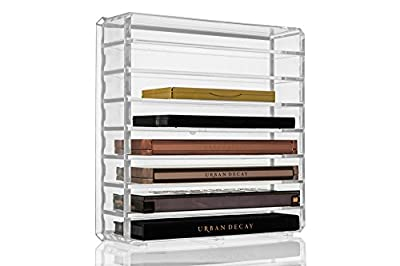 GLAMSMACKED ® Clear Acrylic Cosmetic Palette Organiser Display Table Storage Stand for Make Up, 8 Section or Shelves for your Favourite Eye Shadows, Blushers Cosmetics and Make Up produced by GLAMSMACKED ® - quick delivery from UK.