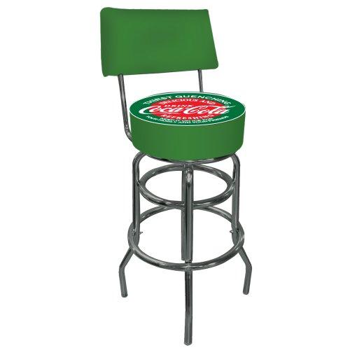 Trademark Gameroom Coca-Cola Rot und Grün Gepolsterte Barhocker mit Drehgelenk mit Rückseite