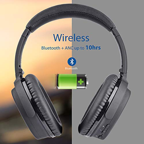 Avantree ANC032 Bluetooth 4.1 Active Noise Cancelling Kopfhörer mit Mikrofon, Wireless Wired Superleicht Komfortabel Klappbar Stereo ANC Over Ear Headset für Handys PC TV - 5