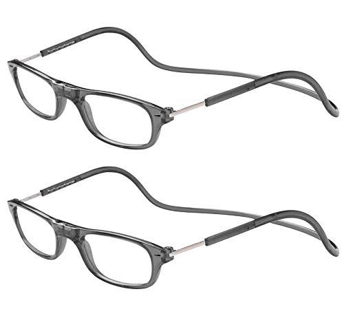TBOC Pack: Gafas de Lectura Presbicia Vista Cansada – (Dos Unidades) Graduadas +2.00 Dioptrías Montura Gris Hombre Mujer Imantadas Plegables Lentes Aumento Leer Ver Cerca Cuello Imán