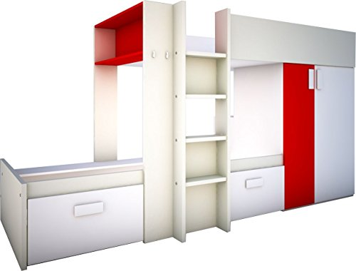 Trasman 6880 Etagenbett, melaminharzbeschichtete Holzspanplatten, rot, 293 x 110 x 150 cm (Verstellbare Kinder Bücherregale)