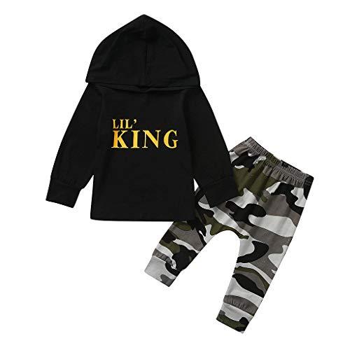 Kostüm Lil Harlekin - GJKK Bekleidungssets für Jungen Brief Lil King Gedruckt Hoodie Kapuzenpullover Langarm Sweatshirt Tops + Hosen 2pcs Outfits Kleidung Set