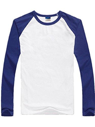 BOMOVO Herren Langarm T-Shirt Langarm Shirt Slim Fit Longsleeve Blau