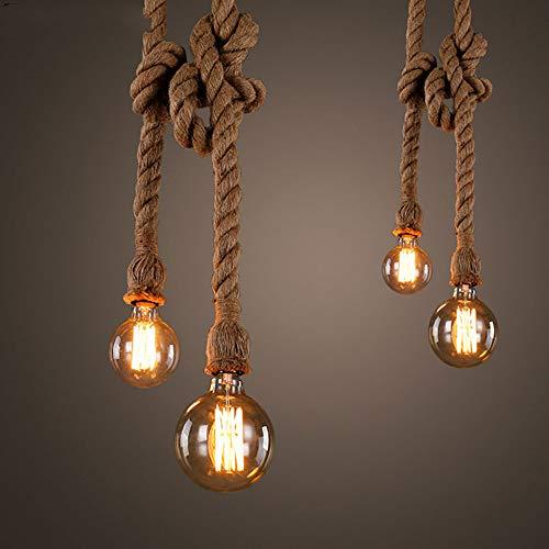 Vintage Hanf Seil Anhänger Lichter Retro Loft Industrielle Hängelampe Für Wohnzimmer Home Beleuchtung Befestigungen Dekor Led Leuchte (Home-beleuchtung-befestigungen)