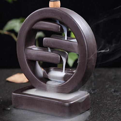Räucherstäbchenhalter mit 10 Stück Rückfluss-Räucherkegel, Heimdekoration, Räucherstäbchenhalter aus Keramik