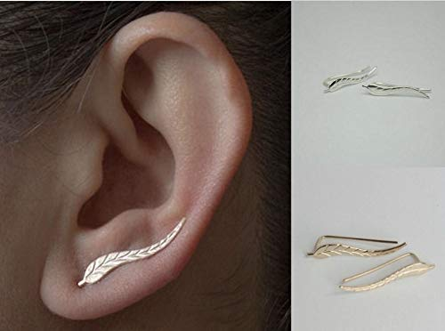 Elegante Blätter Damen Ohrringe aus Edelstahl in Gold Frauen Schmuck aus Edelstahl in Blatt Form