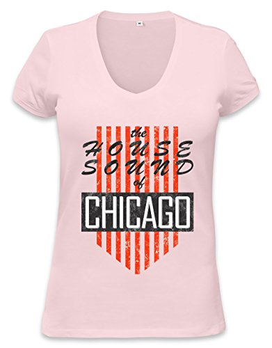House Sound Of Chicago Retro Womens V-neck T-shirt XX-Large (T-shirt Womens Retro Chicago)