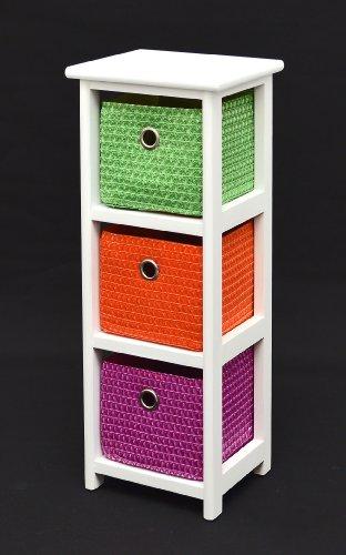 Kommode Nachttisch Schrank 62 cm Höhe Bad Regal Weiß mit 3 Körben in Orange Lila Grün für Kinderzimmer, Büro, Bad, Flur und Babyzimmer (Regal Körbe)