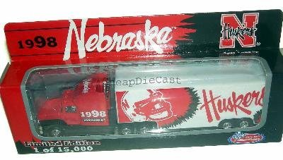 Nebraska Cornhuskers 1998 NCAA White Rose Diecast Peterbilt Kenworth Tractor Trailer 1/87 Scale Truck Huskers Collectible Team Car by NCAA