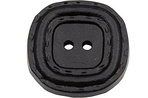 6 Stück, schwarz 2 Loch Kunststoff Knöpfe, modern, flach, Leder Optik, mit Rand, Kunststoffknöpfe, 28mm (Hartmann Leder)