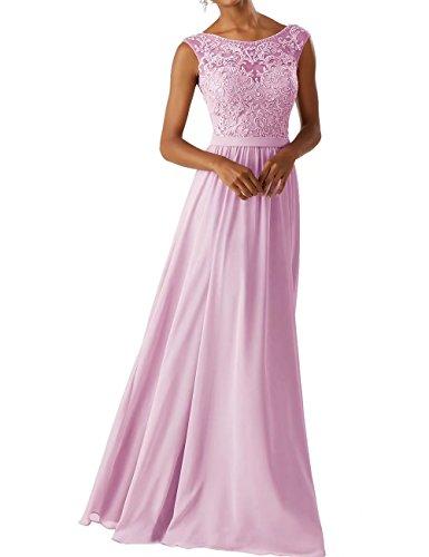 RJOAMEUDRESS Damen damen Chiffon Brautjungfer Kleider Sleeveless Lange Prom Abendkleider rosa Größe 42
