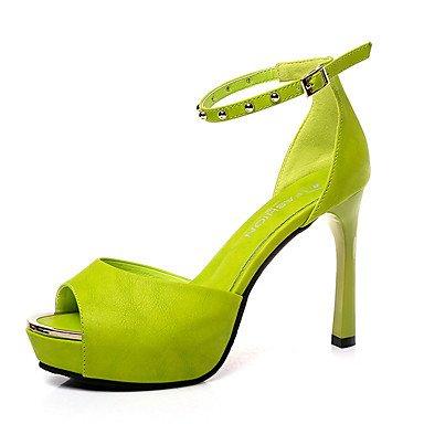 zhENfu Donna Sandali Comfort estivo PU Outdoor Walking Stiletto Heel fibbia arrossendo verde Rosa Bianco Nero Green