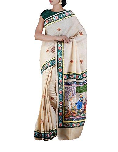 Unnati Silks Women Patachitra Cream Pure Handloom Jute Tussar Silk Indian Women Saree