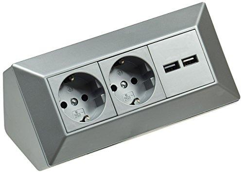 2-Fach Tischsteckdose + 2x USB I Ecksteckdose 230V 16A 45° Aufbau-Montage Vorverdrahtet für Arbeitsplatte Büro Küche Werkstatt Silber