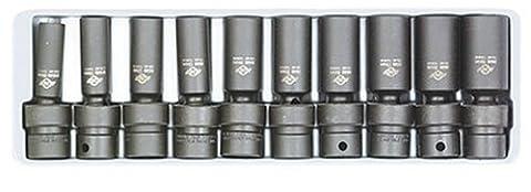 """Sunex SUN3660 .38 \""""dur m-trique 6 pans profond impact Universal Socket Set-10 Pc"""