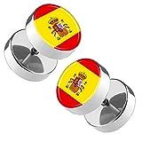 Piersando Ohrringe Fake Ohr Plug Flesh Tunnel Piercing Ohrstecker Stecker Stab Runde Platte Fussball EM & WM Länderflagge Fanartikel Land Flagge Spanien