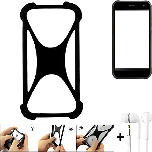 K-S-Trade Handyhülle für Cyrus CS 40 Schutzhülle Bumper Silikon Schutz Hülle Cover Case Silikoncase Silikonbumper TPU Softcase Smartphone, schwarz (1x), Headphones