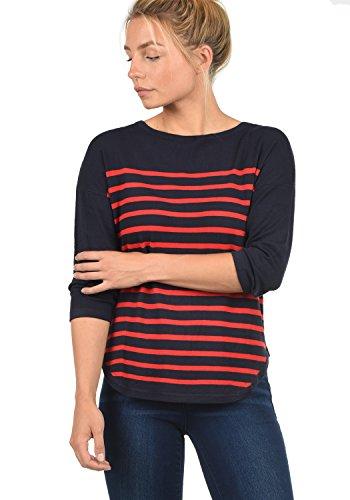ONLY Liese Damen Strickpullover Feinstrick Pullover Mit Rundhals Und Streifenmuster, Größe:L, Farbe:Sky Captain/Stripes High Risk Red
