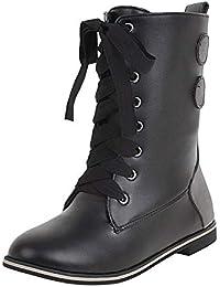 LILICAT☃ Botas de Costura con Cordones Europeas y Americanas Zapatos Vintage Retro Botas de Tubo