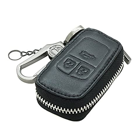 Genuine Leather Zipper Bag Key Case Holder Cover fit for BUICK CHEVROLET VAUXHALL OPEL Flip Key 3 Button 5650 Black