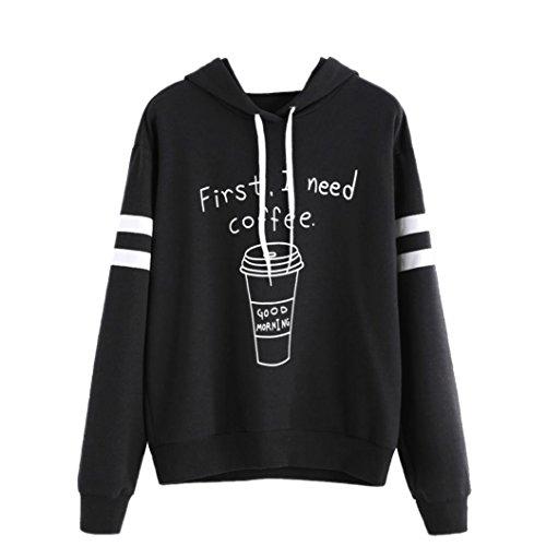 Amlaiworld Frauen sport locker weich Kaffee Sweatshirt damen mit aufdruck Buchstabe Kapuzenpullover warm Herbst Winter pulli für Mädchen (S, Schwarz)