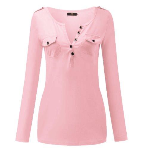 Juleya Camicia donna Camicetta Top con scollo V profondo Tshirt casual in cotone Magliette Camicette lunghe tinta unita outfits outwear S-6XL Rosa
