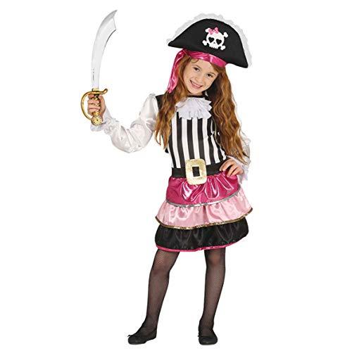Guirca Piraten Kostüm für Mädchen Pink Rosa in Größe 98 -146, Größe:98/104 (Kinder Rosa Piraten Kostüm)