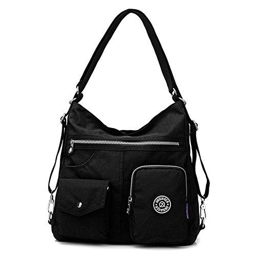 Outreo Kuriertasche Damen Schultertasche Umhängetasche Handtasche Designer Strandtasche Wasserdichte Messenger Bag Rucksäcke Sporttasche Taschen für Mädchen Reisetasche Nylon Schwarz