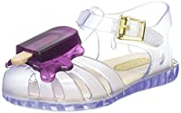 A common summer scene, portrayed on a summer sandal! A Mini Melissa Aranha adorned with a melting purple lollypop, shown here on a beautiful transparent clear sandal. This won't be the stickiest lolly that you'll see this summer!