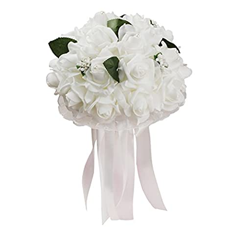 Vlovelife Pure White Rose Wedding Bouquet Bridal Bridesmaid Artificial Foam Rose Flower Handmade Posy Rhinestone Pearl Lace Satin Ribbon Decor