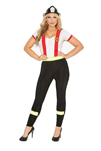 Zabeanco Blazing Hot Damen Kostüm Feuerwehrmann Halloween - schwarz/weiß - (3 Stück Feuerwehrmann Kostüm)
