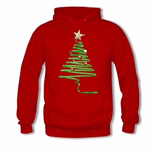 Ribbons Abstract Green Christmas Tree Men's Hoodies M