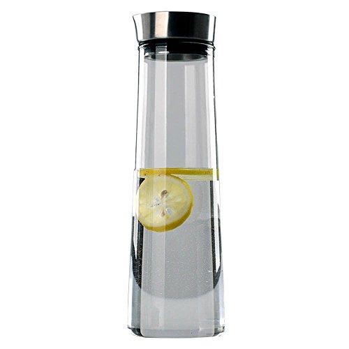 1L Glaskaraffe,Deckel aus Edelstahl ,Hohe temperatur,Heiße und kalte Wasserkaraffe für Wasser, Milch, Saft, Iced Tea, Lemonade & Sparkling Getränke