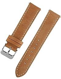 Ivystore Correa de reloj 18mm 20mm 22mm Correa de reloj deportivo de cuero genuino vintage o banda de reloj inteligente con barra de resorte de liberación rápida (18mm, marrón claro)