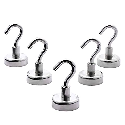 GOOTRADES 5 Pcs Magnetic Hook Strong Neodymium Magnetic for Keys Coat Fridge Doors Pastel - Diameter