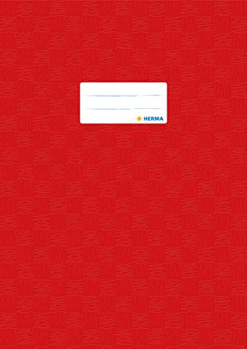 Herma 7442 Heftumschlag DIN A4 Kunststoff, rot, gedeckt mit Baststruktur, 1 Heftschoner für Schulhefte