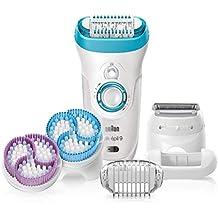 Braun Silk-épil 99969-E Skin Spa - Pack con depiladora para mujer 4 en 1, con tecnología Wet & Dry y 6 accesorios, cepillo limpiador facial, cabezal exfoliante, color blanco