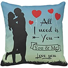 YaYa cafe Canvas Cotton Polyester Blend TYYC Printed All I Need Is You Love Couple Holding Hands Pillow Cushion Cover (Blue,12x12 inches)