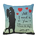 TYYC Valentine Gifts for Girlfriend, Printed All I need is You Love couple holding hands Pillow Cushion Cover 12x12 inches