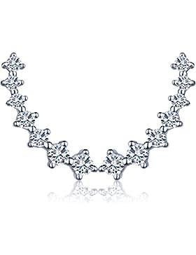 Unendlich U Fashion 7 Sterne Damen Ohrstecker 925 Sterling Silber Zirkonia Ohrklemme Ear Cuff Ohrringe Ohrschmuck...
