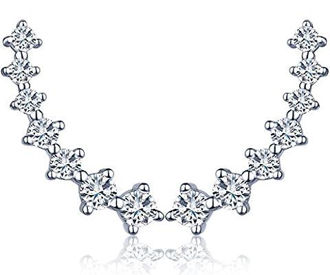 Infinite U Fashion Stars 925 Sterling Silver Cubic Zirconia Stud Earrings Sweep up Ear Cuffs for Women/Girls, Silver