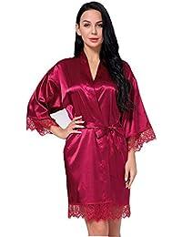 Peignoir Satin Robe de Chambre Kimono Femme Sortie de Bain Nuisette Déshabillé Vêtements de Nuit Femme Satin Lingerie Dentelle Peignoir Robes de Mariée